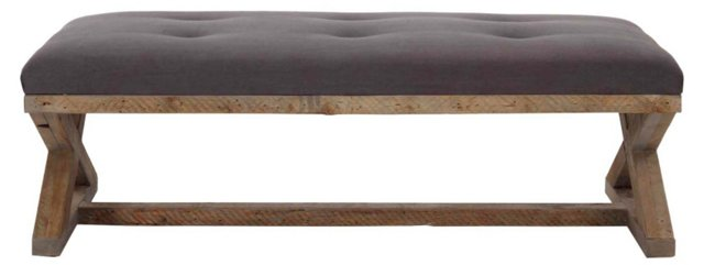 "Andrew 66"" Linen Tufted Bench, Charcoal"