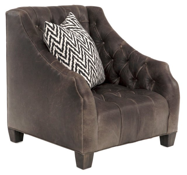 Luis Tufted Leather Wingback, Espresso