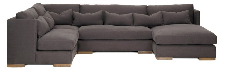 Carrell 4-Pc Linen Sectional, Charcoal