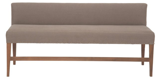 "Alfred 64"" Linen Bench, Taupe"