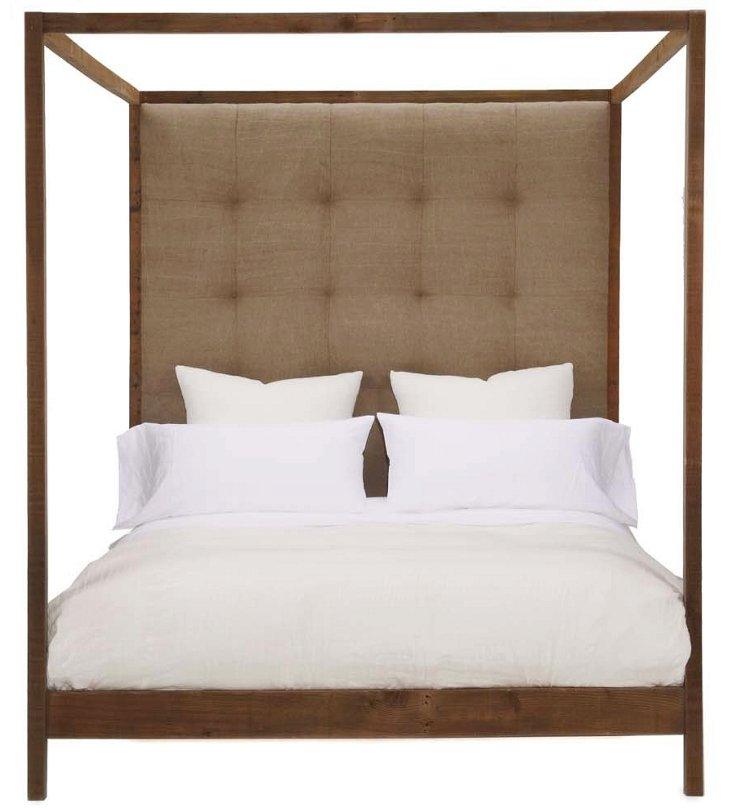 Strugess Tufted Linen Canopy Bed, Khaki