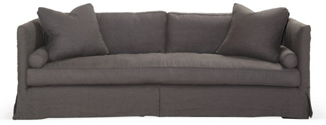 "Oliver 94"" Slipcover Sofa, Charcoal"