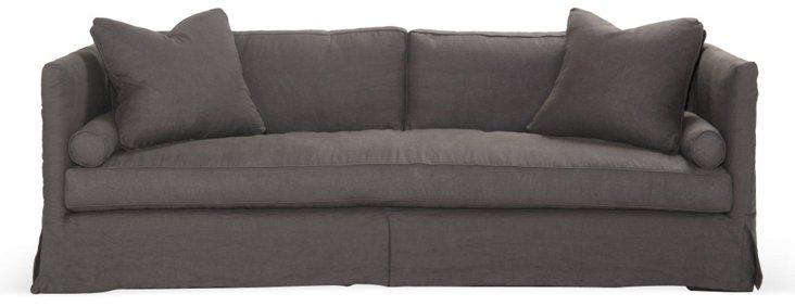 Dunsmier Skirted Sofa, Dark Slate