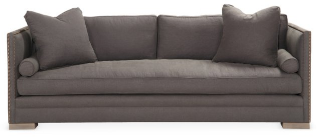 "Oliver 94"" Tailored Linen Sofa, Charcoal"