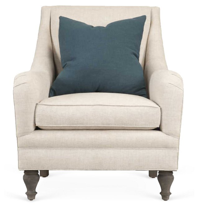 Yves Linen Accent Chair, Ivory