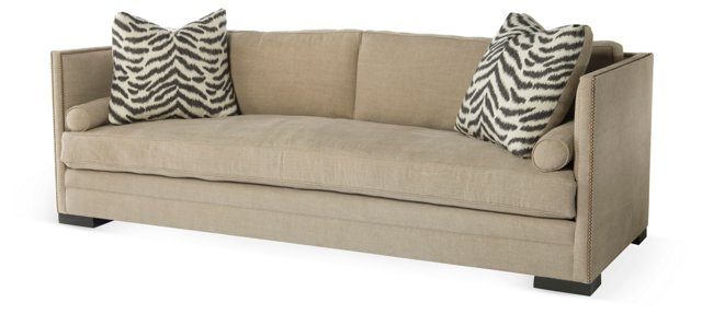 "Oliver 94"" Tailored Linen Sofa, Khaki"