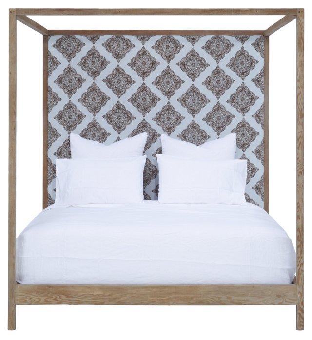 Strugess Upholstered Bed, Block Print