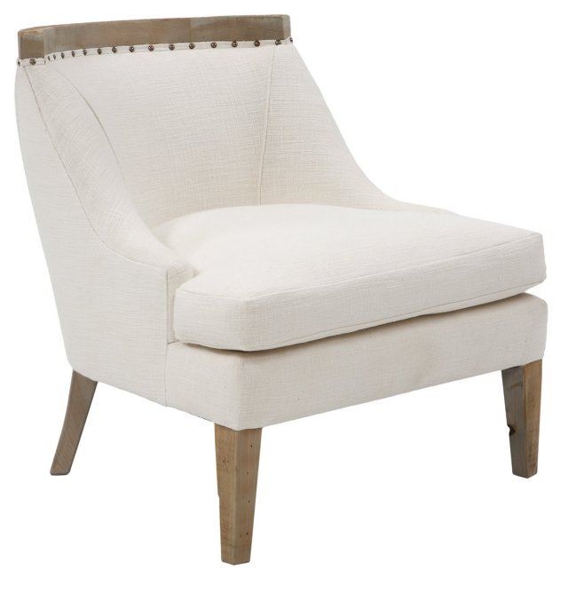 Sarah Linen Accent Chair, White