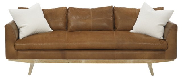 "Carmel 94"" Leather Sofa, Tobacco"