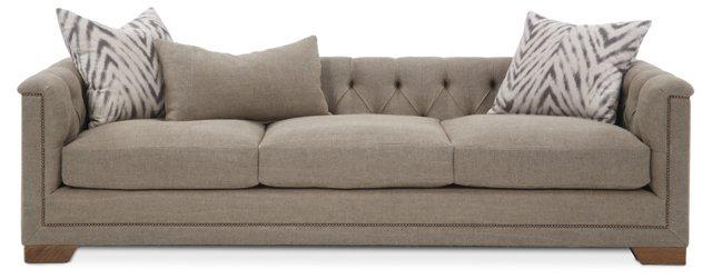 "Jackson 99"" Tufted-Back Sofa, Khaki"