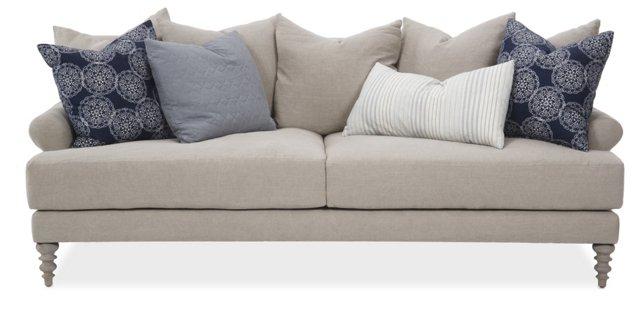 """Elizabeth 92"""" Linen Sofa, Oatmeal"""