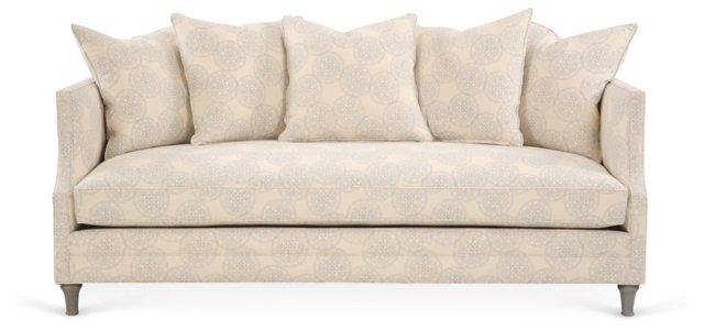 "Dumont 85"" Linen Sofa, Light Blue Danda"