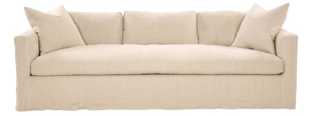 Francis Linen Sofa, Herringbone Oatmeal