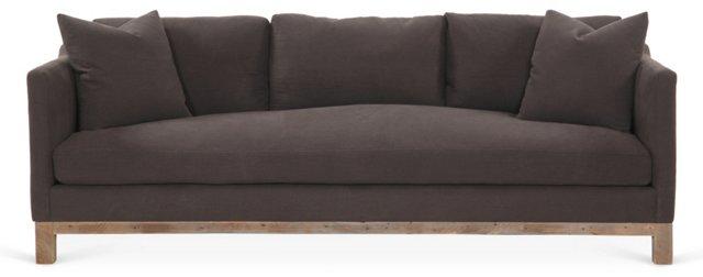 """Cara 90"""" Linen Sofa, Charcoal"""