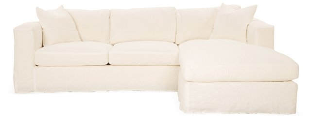 Edith Reversible Linen Sectional, Ivory