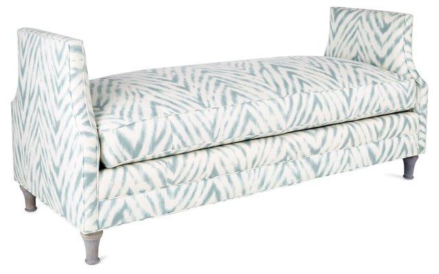 "Dumont 68"" Linen Bench, Aqua/White"