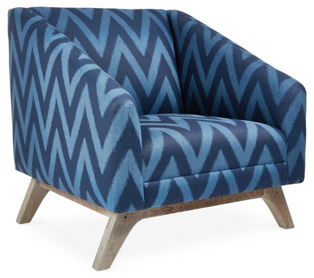 Anna Linen Accent Chair, Navy/Indigo