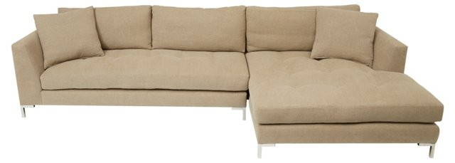 Walden Linen Right Sectional, Beige