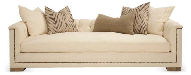 "Jackson 99"" Tufted Linen Sofa, Ivory"