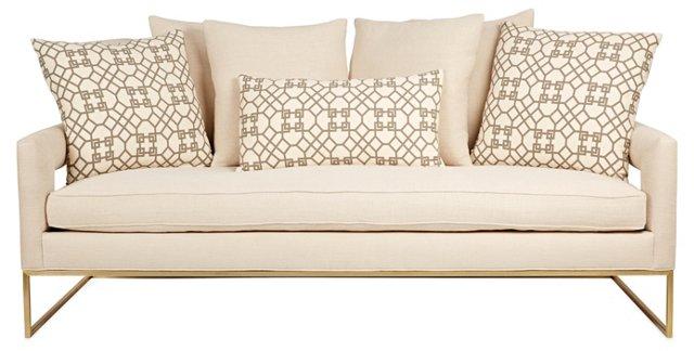 "Bevin 85"" Linen Sofa, Ivory"