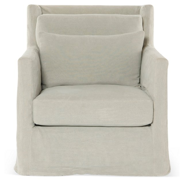 Huxley Slipcover Chair, Oatmeal