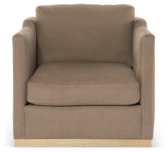 Cara Club Chair, Taupe Linen