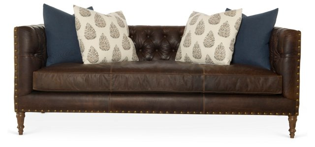 "Pasadena 88"" Leather Sofa, Bourbon"
