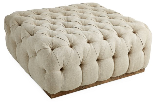 Tufted Cocktail Ottoman, Natural