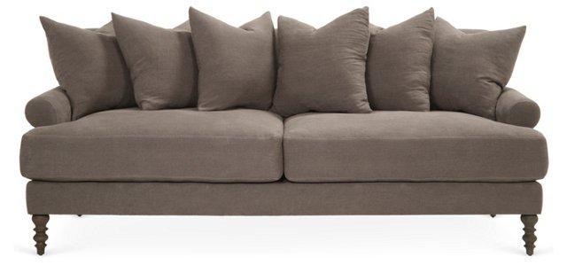 "Elizabeth 92"" Linen Sofa, Stone"