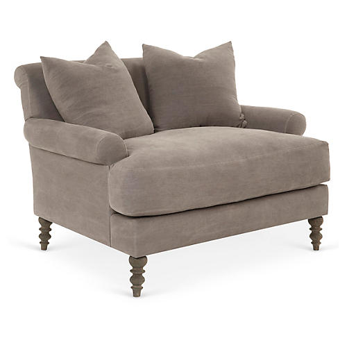 Elizabeth Chair-and-a-Half, Smoke Linen
