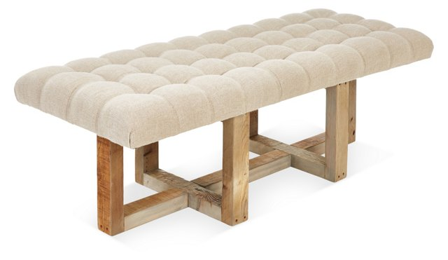 """Theodore 24"""" Tufted Bench, Oatmeal"""
