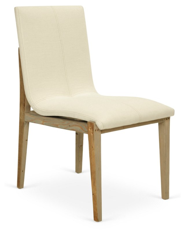 Olympia Linen Dining Chair, Ivory