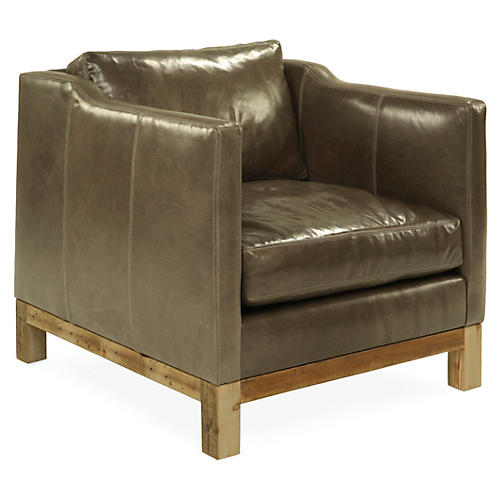 Cara Club Chair, Wolf Gray Leather