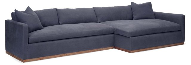 Francis Linen Sectional, Navy