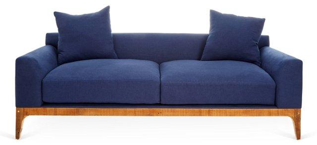 "Harper 91"" Linen Sofa, Indigo"