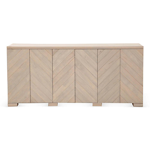 "Penn 80"" Maple Sideboard, White Wash"