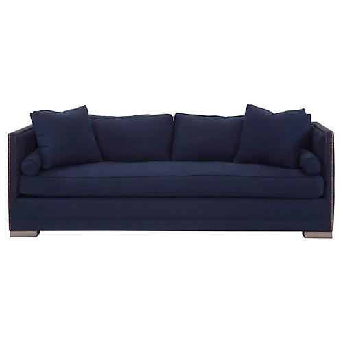 Oliver Tailored Sofa, Indigo Linen