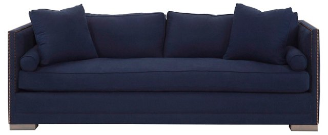 """Oliver 94"""" Tailored Linen Sofa, Navy"""