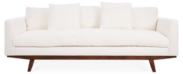 """Carmel 96"""" Linen Sofa, White"""