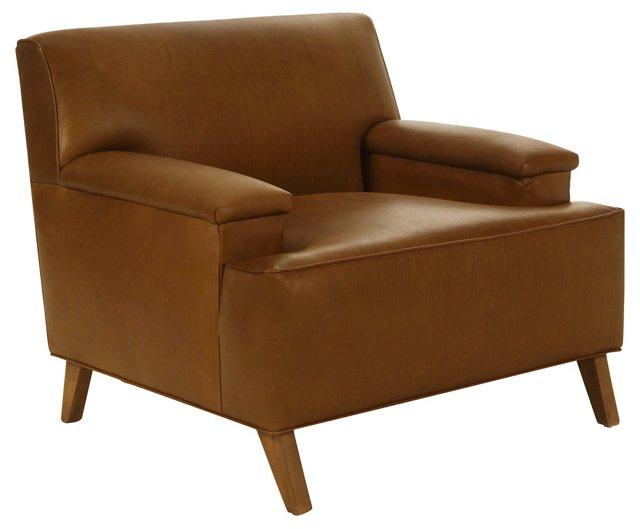 Davis Leather Chair, Saddle