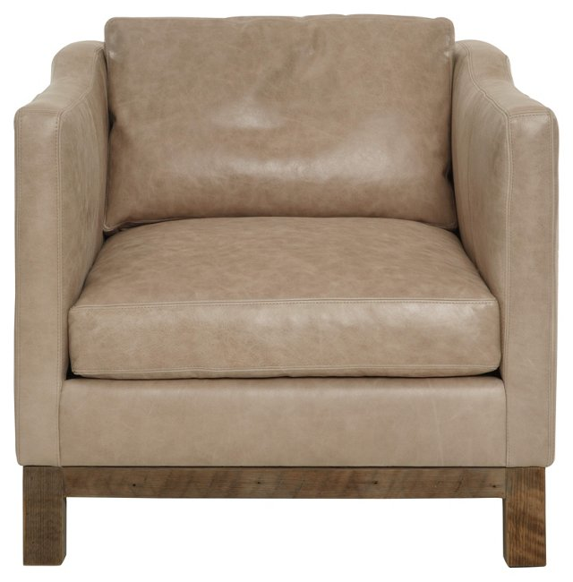 Cara Club Chair, Cashew Leather
