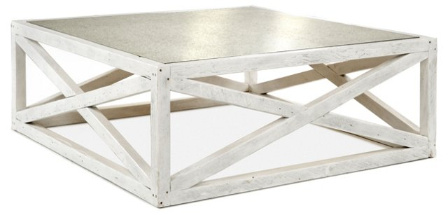 "Manning 48"" Square Coffee Table, White"