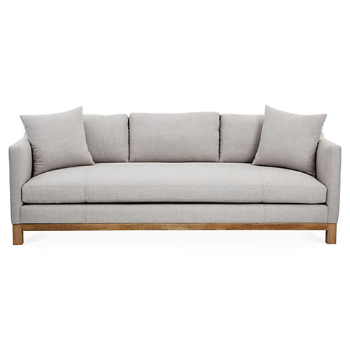 "Cara 90"" Sofa, Light Gray Linen"