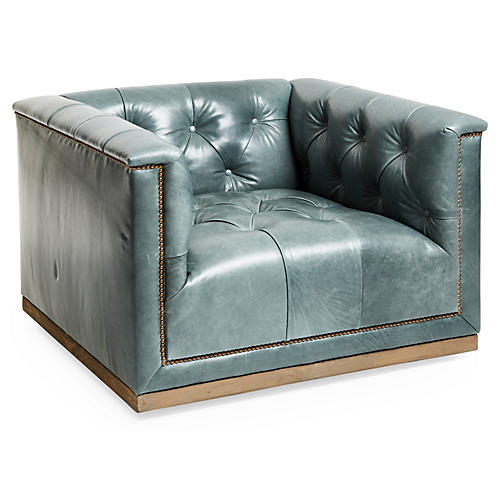 Jackson Swivel Club Chair, Storm Gray Leather