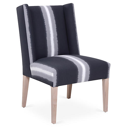 Martin Side Chair, Gray Ombre Stripe