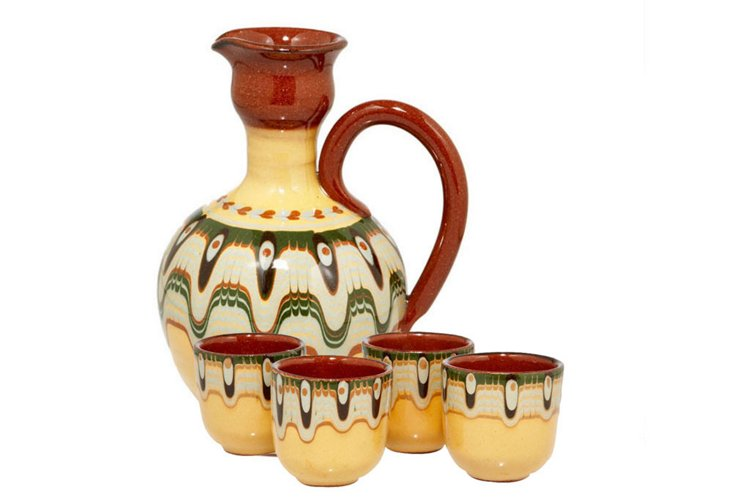 Toasting Pitcher and 4 Cup Set, Yellow