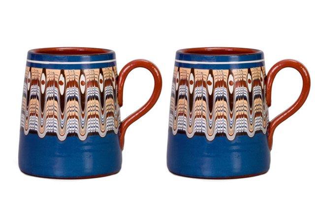 S/2 Troyan Beer Mugs, Blue