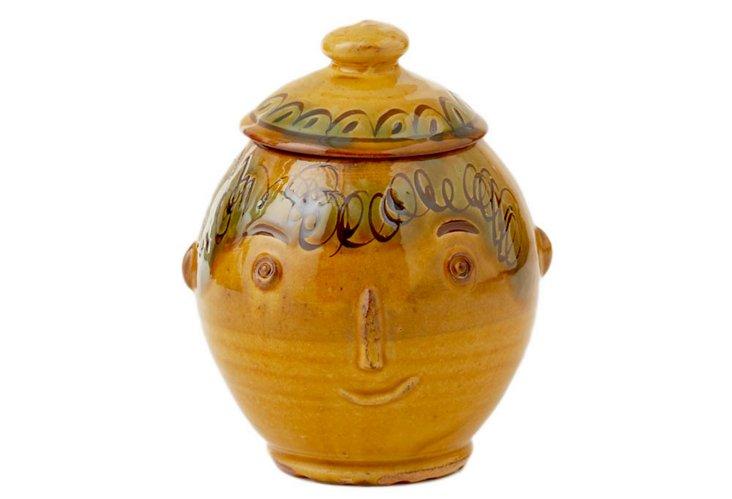 Set of 2 Turnovo Lidded Face Jars, Large