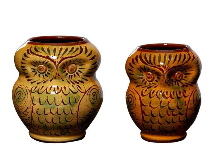 S/2 Owl Vases, Mustard