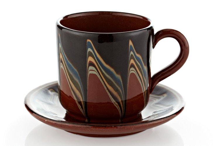 Set of 4 Bairak Mugs & Saucers, Earth
